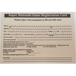 Activision registration card for snes